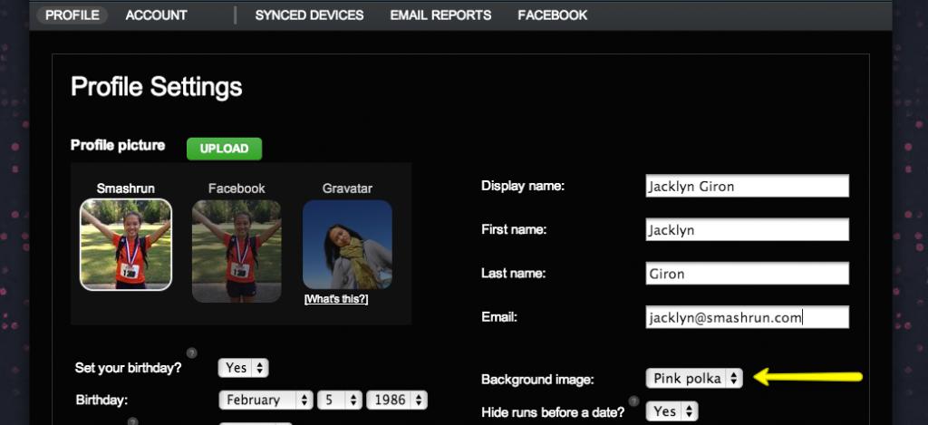 Background image setting location