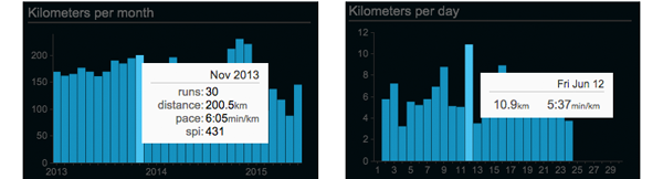 Miles/km per month/day